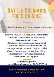 Flyer du concours battle Culinaire pour la 23ème percée du Vin Jaune à Ruffey-sur-Seille