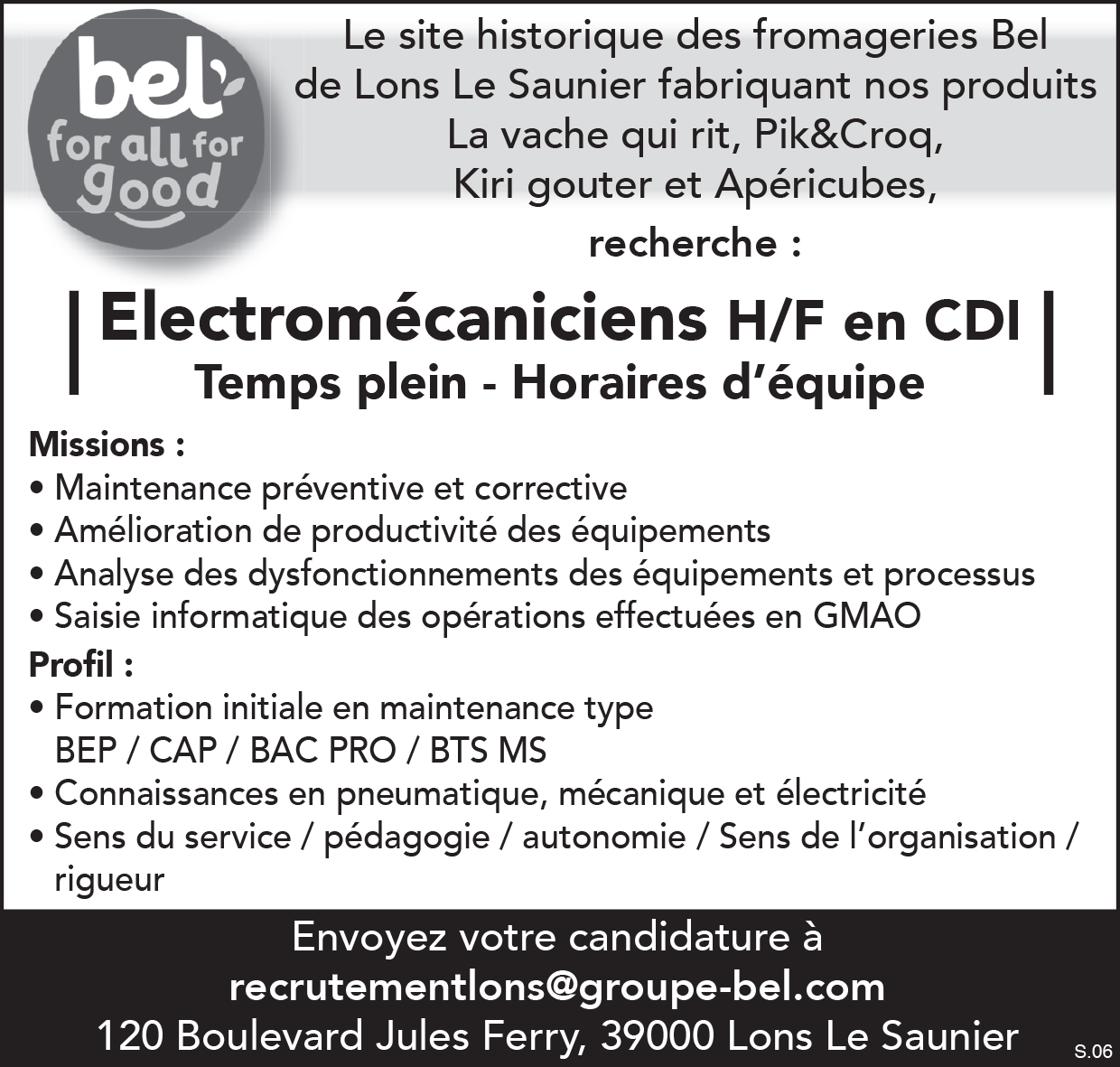 Offre emploi Fromagerie Bel